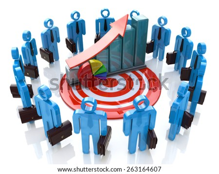 3d business people with financial graph - stock photo