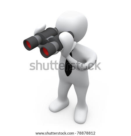 3D Business Person Looking Through Binoculars . - stock photo