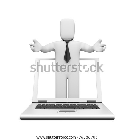 3d business person offer service - stock photo