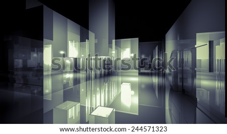 3d business room, Hall  building with light and reflects. modern design concept - stock photo