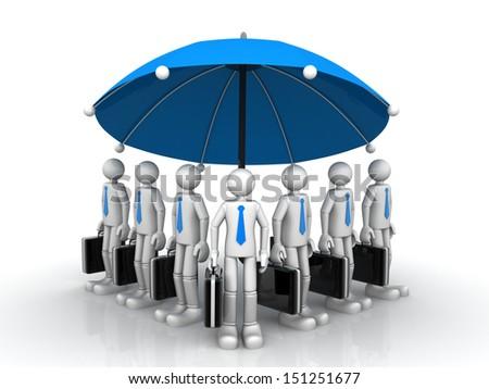 3d business team standing under a big umbrella   - stock photo