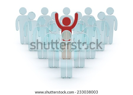 3d business team with red leader man. success teamwork concept glass 3d render illustration  - stock photo