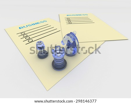 3D business yellow paper planning with blue chess.  - stock photo