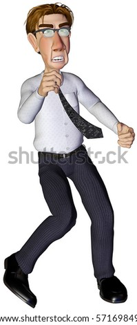 3d businessman angry - stock photo