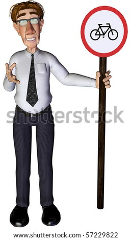 3d businessman bicycle sign - stock photo