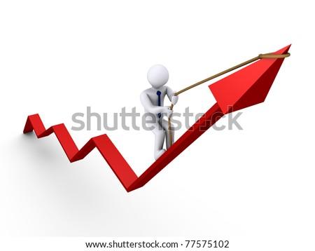 3d businessman climbing on graph - stock photo