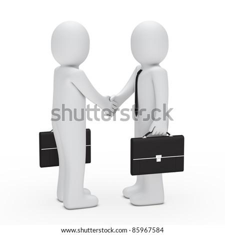 3d businessman handshake with briefcase black - stock photo