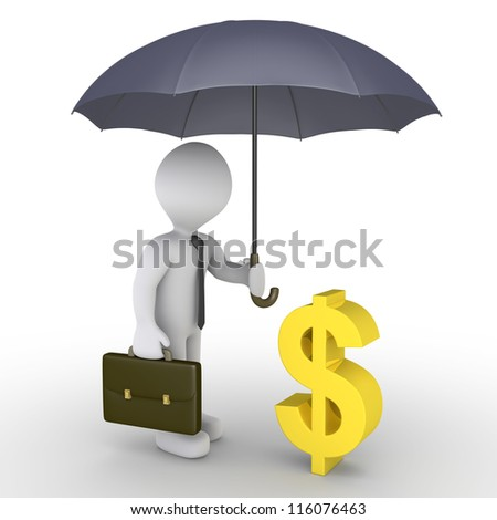 3d businessman holding an umbrella is protecting a dollar symbol - stock photo