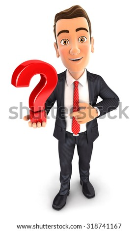 3d businessman holds a question mark, isolated white background - stock photo