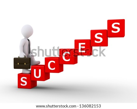 3d businessman is climbing stairs made of cubes lettering success word - stock photo