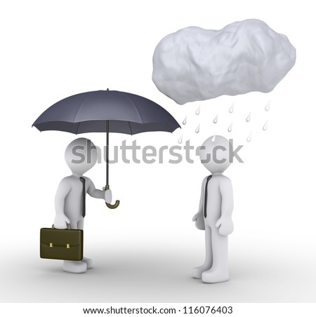 3d businessman is offering umbrella to another one, that has rain over his head - stock photo