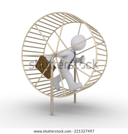 3d businessman is running inside a hamster wheel - stock photo