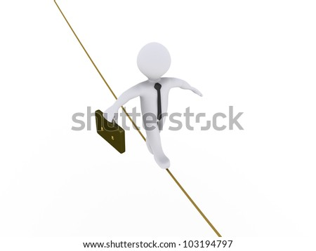 3d businessman is walking on tightrope - stock photo
