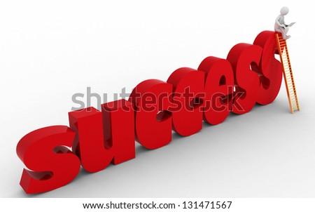 3d businessman on success stair. 3d render illustration - stock photo
