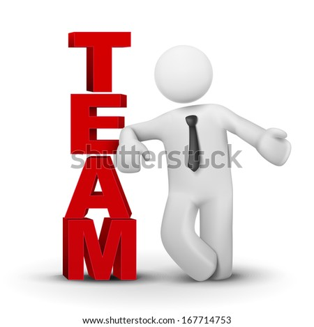 3d businessman presenting concept word team isolated white background - stock photo