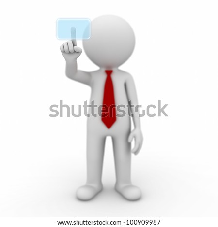 3d businessman pushing a button on a touch screen interface on white background - stock photo