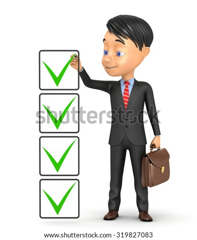 3d businessman puts a tick marker on a white background - stock photo