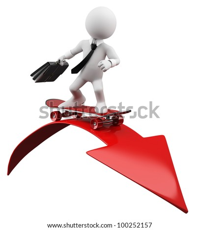 3D Businessman - Red arrow. Rendered at high resolution on a white background with diffuse shadows. - stock photo