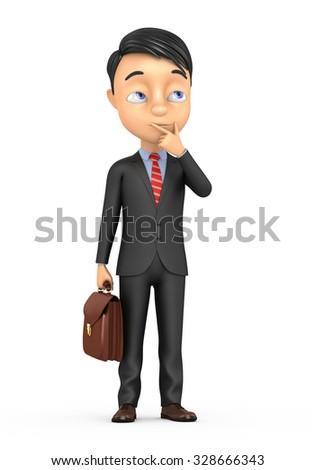 3d businessman thinking isolated on white background - stock photo