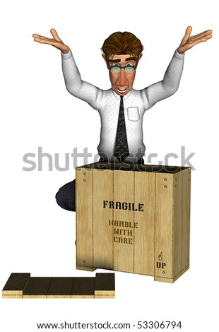 3d businessman unhappy surprise wood box delivery cartoon - stock photo