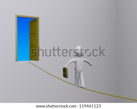 3d businessman walking on tightrope in order to reach open door - stock photo