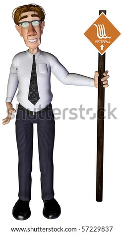 3d businessman waterfall - stock photo