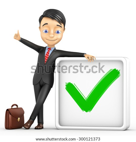 3d businessman with a big check mark on a white background - stock photo