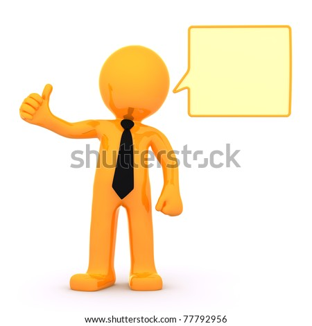 3d businessman with empty speech bubble. Isolated on white background - stock photo