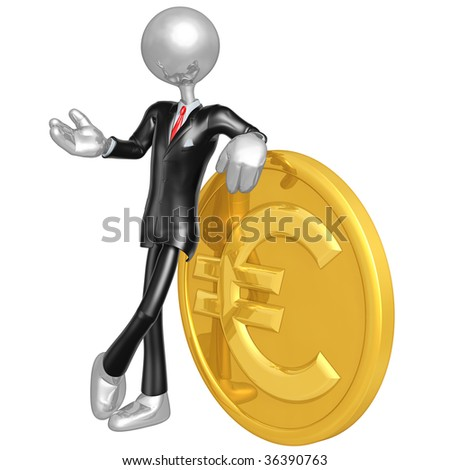 3D Businessman With Gold Euro Coin - stock photo