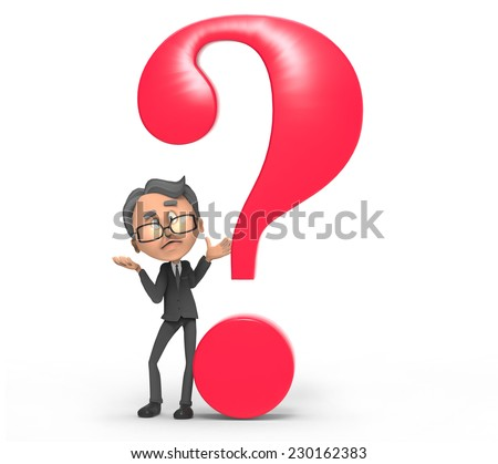3d businessman with question mark  - stock photo