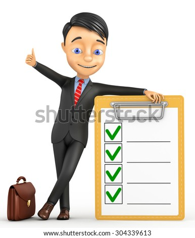 3d businessman with the tablet and ticks - stock photo