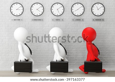 3d Businessmans running with a Briefcase in front of Time Zone Clocks and brick wall - stock photo