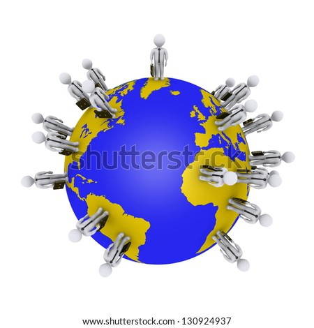 3d businessmen are standing around the globe - stock photo