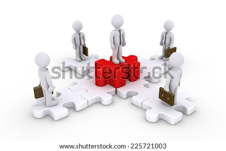 3d businessmen are standing on puzzle pieces and one is higher - stock photo