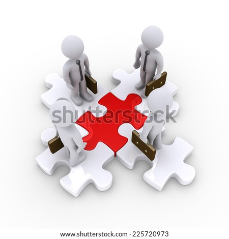 3d businessmen are standing on puzzle pieces that are connected - stock photo