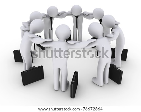 3d businessmen in a circle concentrating - stock photo