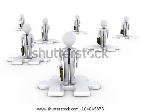3d businessmen on white puzzle pieces in various positions - stock photo