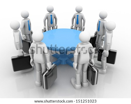 3D businessmen standing  at a round table and having business meeting - stock photo