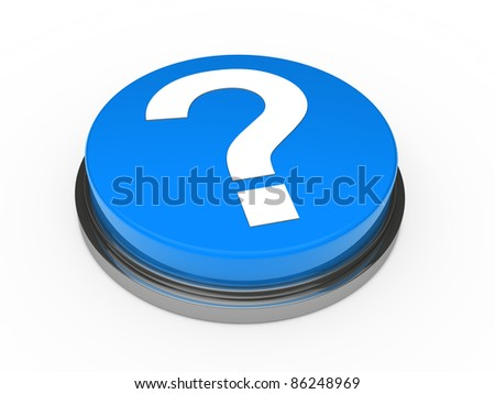 3d button blue with question mark sign - stock photo