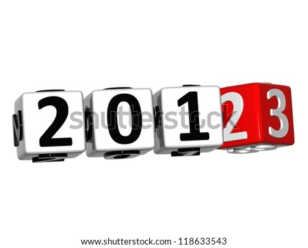 3D 2013 Button Click Here Block Text over white background - stock photo