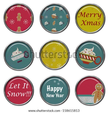 3D Buttons - Christmas Grunge Set - stock photo