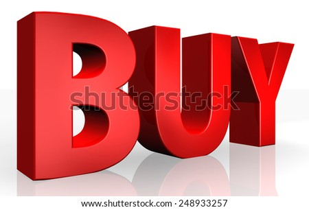3D buy text on white background - stock photo