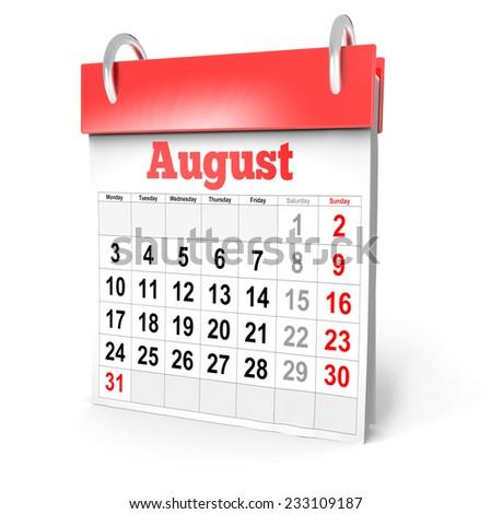 3d Calendar August 2015 - stock photo