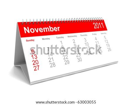 3D calendar November 2011 - stock photo