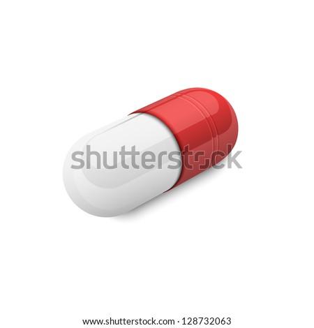 3d capsule pill. Raster version - stock photo