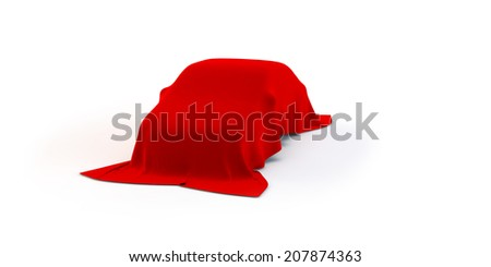 3D car covered with red fabric - stock photo