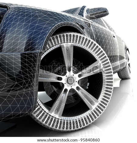 3D car design - stock photo
