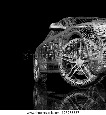 3d car model on a black background. render image with shine and reflection.  - stock photo