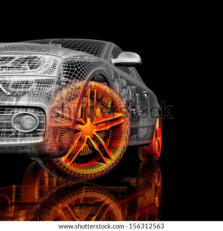 3d car model on a black background. render image with shine and reflection. Isolated parts of the car - stock photo