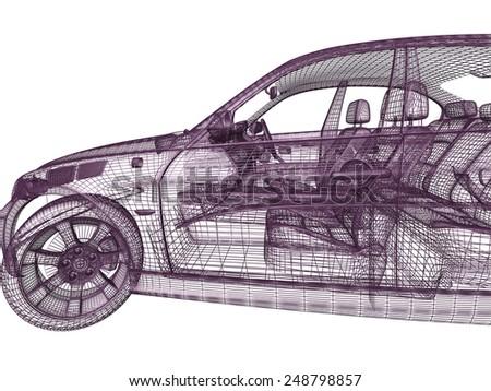 3d car model on white background - stock photo